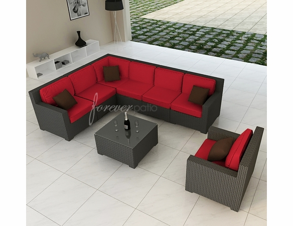 Wicker Forever Patio 8 Pc Hampton Deep Seating Sectional Set