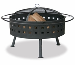 Wood Burning Aged Bronze Outdoor Firebowl w/ Lattice Design