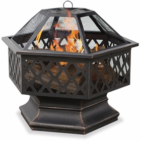 Wood Burning Oil Rubbed Bronze Hexagonal Outdoor Firebowl w/ Lattice Design