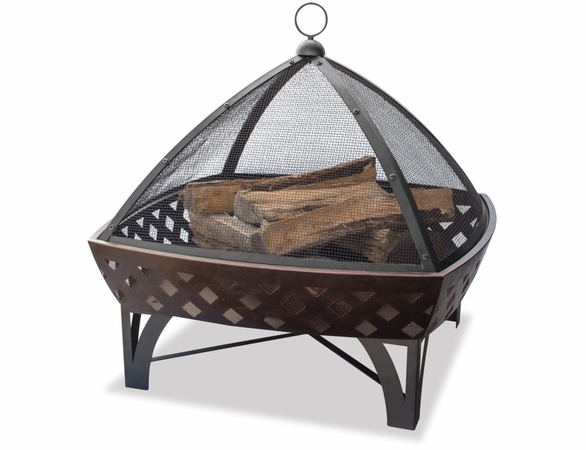 Wood Burning Oil Rubbed Bronze Outdoor Firebowl w/ Lattice Design