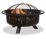 Wood Burning Oil Rubbed Bronze Outdoor Firebowl w/ Palm Tree Design