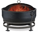 Wood Burning Oil Rubbed Bronze Outdoor Firebowl with Kettle Design