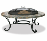 Wood Burning Slate and Tile Copper Outdoor Firebowl