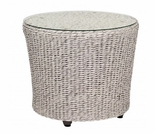 "Whitecraft by Woodard Isabella Wicker 24"" End Table w/ Glass Top"