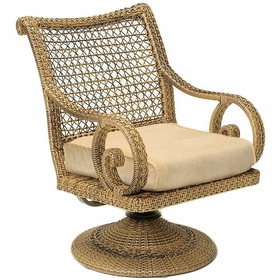 Whitecraft by Woodard South Shore Wicker Swivel Rocker Dining Chair