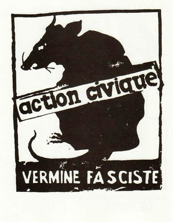 Action Civique - Vermine Fasciste (Civic Action - Fascist Vermin)  Paris May 68 Street Poster T-Shirt