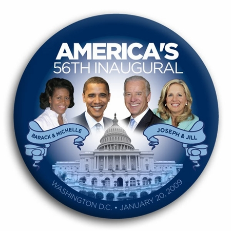 America's 56th Inaugural Obama and Biden Button - 3""