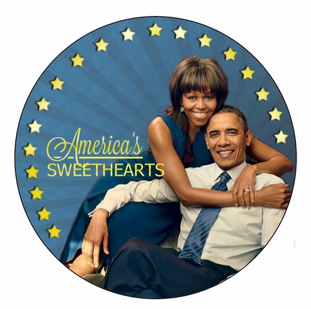 America's Sweethearts Michelle and Barak Obama Button