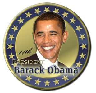 Barack Obama 44th President Gold Pin Badge Button 3""