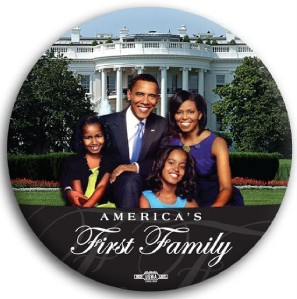 Barack Obama First Family Color White House Button 3""