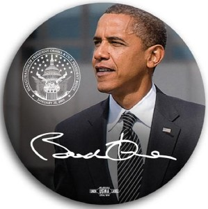 Barack Obama Inaugural Seal with Signature Pin Button 3""