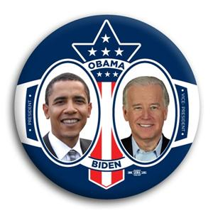 Barack Obama Joe Biden Red White And Blue Button