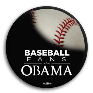 Baseball Fans for Obama Button 3""