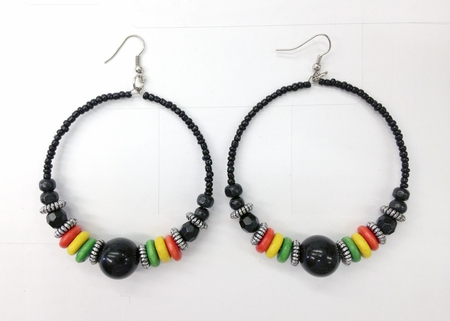 Beaded Rasta Hoop Earings