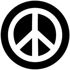Black & White Peace Sign Button
