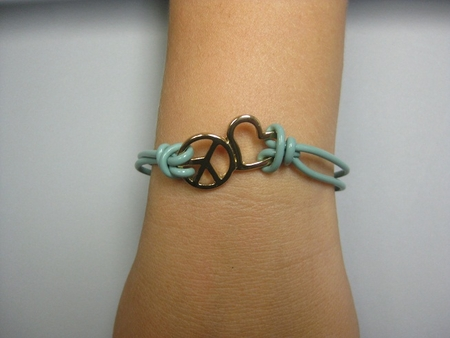 BLUE PEACE AND LOVE BRACELET