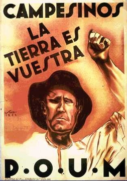 """Campesinos The Land Is Yours"" Spanish Civil War Poster 11 x 17"""