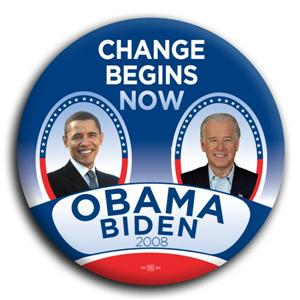 Change Begins Now Barack Obama Joe Biden Button Pin 3""