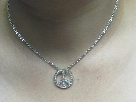 CRYSTAL RHINESTONE PEACE NECKLACE