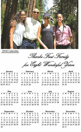 Obama First Family Waterfall Adventure 2018 Commemorative Wall Calendar 11 x 17