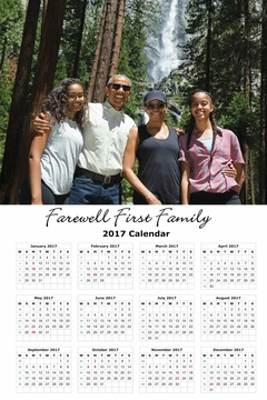 Farewell First Family Waterfall Adventure 2017 Commemorative Wall Calendar 11 x 17