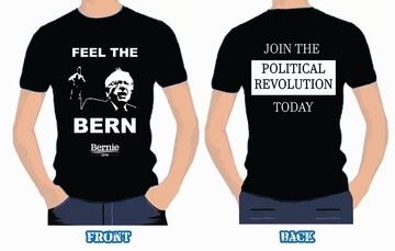 "Feel Grassroots Activist Sale! Feel The Bern -""Join The Political Revolution!"" Two-Sided T-shirt"