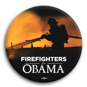 Firefighters for Obama Button 3""