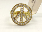 Gold Peace Ring with Rhinestones