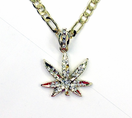 Gold Pot Leaf Necklace