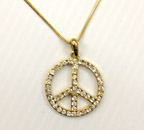 Gold with Silver Rhinestone Peace Necklace