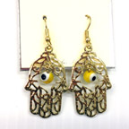 Hamsa with Eye Bead Earings