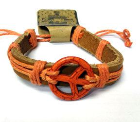 Hemp and Leather Peace Bracelet