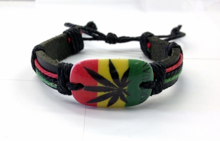 Hemp and Leather Rasta Marijuana Leaf Bracelet