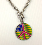 Hippie Peace Flag Necklace