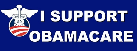I Support Obamacare Blue Bumpersticker