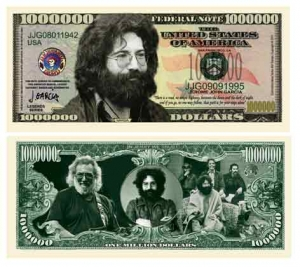 Jerry Garcia and The Grateful Dead Commemorative Dollar Bill Bookmark