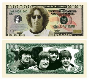 John Lennon And The Beatles Commemorative Dollar Bill Bookmark