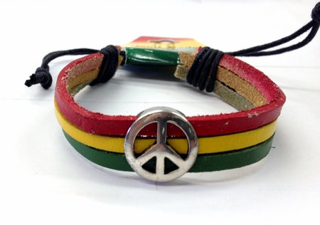Leather Peace Tricolor Rasta Bracelet