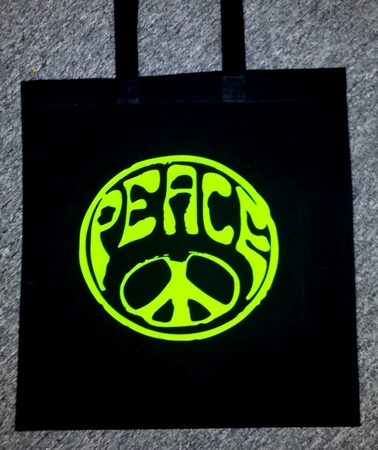 Lime Green / Black Peace Tote Bag