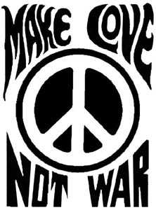 "Make Love Not War Window / Multipurpose Sticker 4"" x 6"""