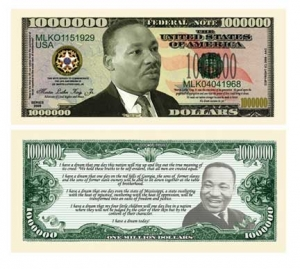 Martin Luther King Commemorative Dollar Bill Bookmark.