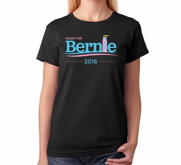 Miami for Bernie Women's Art Deco T-shirt Black