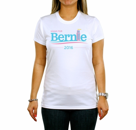 New !Miami for Bernie Women's White Art Deco T-shirt