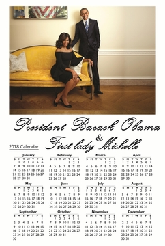 "Barack and Michelle Obama 2018 Wall Calendar 12""x 18"""