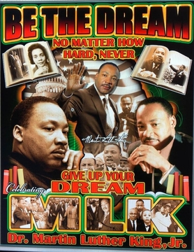 """Martin Luther King """"BE THE DREAM"""" BLACK T- Shirt Two Sided!"""