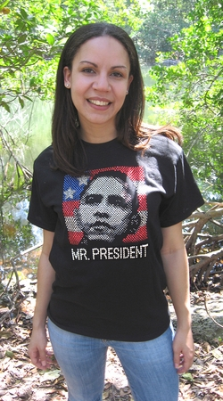 Mr President Rhinestone Womens Fitted T-Shirt