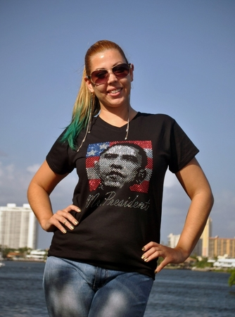 """Mr President"" Womens Rhinestone Short V-Neck Shirt"