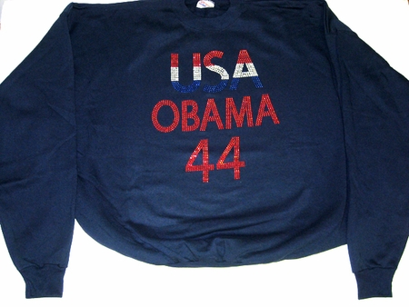 Obama 44 USA  Rhinestone Sweat Shirt