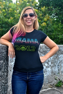 Neon Obama 2012 Rhinestone Womens Fitted Shirt