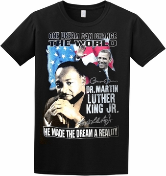 "New 2017! ""One Dream Can Change The World"" MLK/Obama T-shirt!"